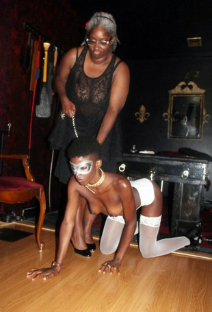 Fantastic BDSM masquerade with tall..