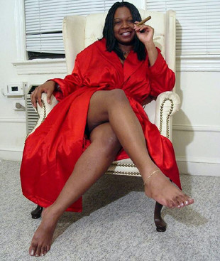 Black Mom in black silk robe with a..
